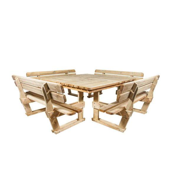 Vierkante picknicktafel met rugleuning zijaanzicht