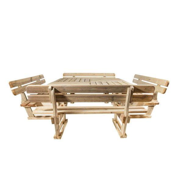 Vierkante picknicktafel met rugleuningen