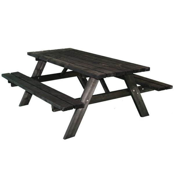 Zwarte picknicktafel schuin voorstaand