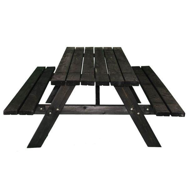 Zwarte picknicktafel recht voorstaand