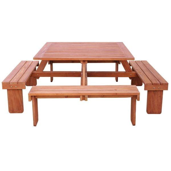 Picknicktafel Hardhout Elite 130x130 vierkant