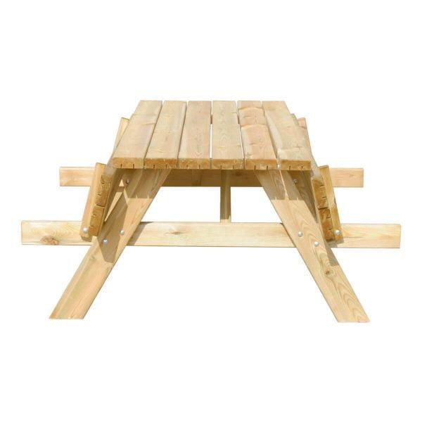 Picknicktafel Deluxe recht voorstaand met klapbanken