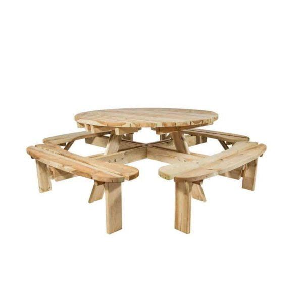 Ronde picknicktafel van hout